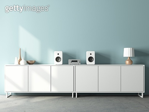 Modern audio stereo system mockup and white speakers on bureau in modern interior