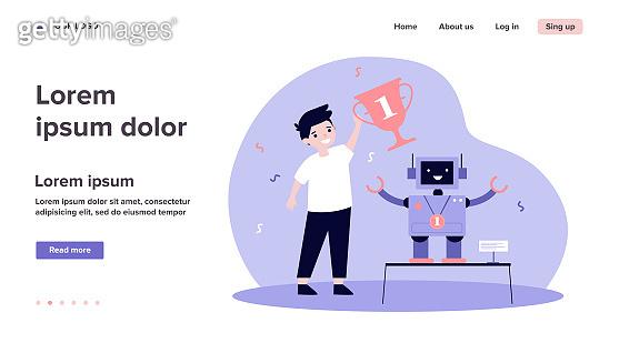 Young engineer making robot and winning award