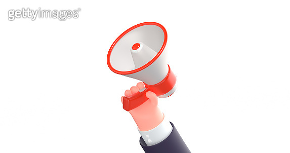 3d render cartoon business hand with loud speaker