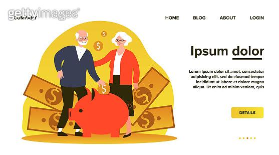 Happy senior couple saving money