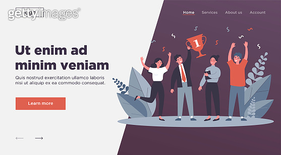 Happy business team winning prize