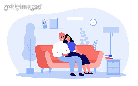 Young happy couple reading book