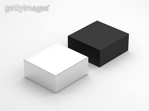 Silver cardboard gift Box Mockup and black cover packaging on white background