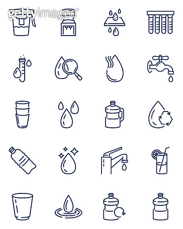 Clean water line icons set