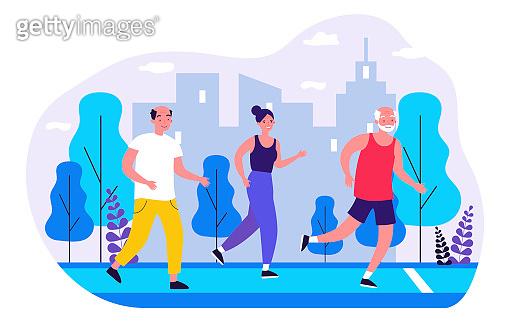 Senior people jogging in city park