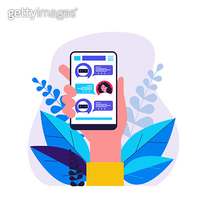 Hand holding smartphone with text messages