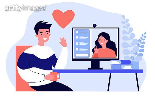 Happy people dating online flat illustration