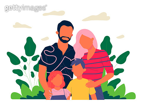 Happy family couple with kids