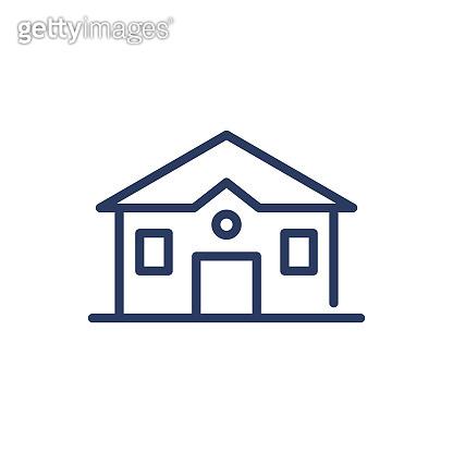 Suburban family house thin line icon