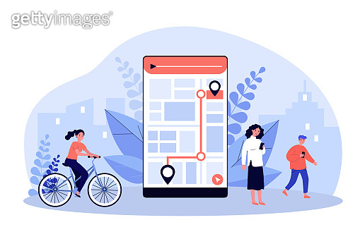 People using mobile app with city map