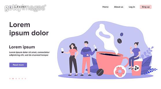 People at coffee break flat vector illustration
