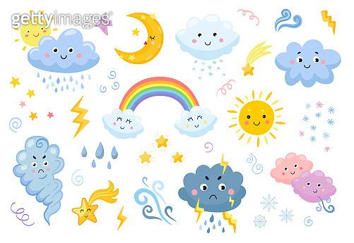 Weather emoticon flat icon set