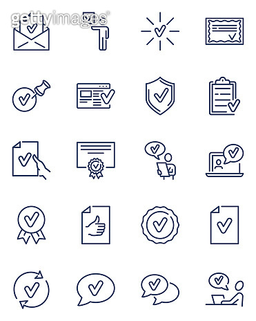 Check marks thin line icons set