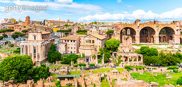Roman Forum, Latin Forum Romanum, most important cenre in ancient Rome, Italy. Aerial view from Palatine Hill
