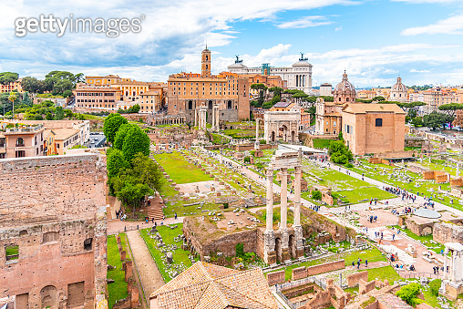 Roman Forum, Latin Forum Romanum, most important cenre in ancient Rome, Italy