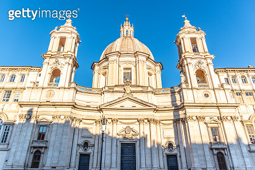 Front view of St Agnes Church on Piazza Navona square, Rome, Italy