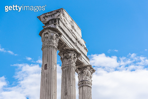Temple of Castor and Pollux, Italian: Tempio dei Dioscuri. Ancient ruins of Roman Forum, Rome, Italy. Detailed view