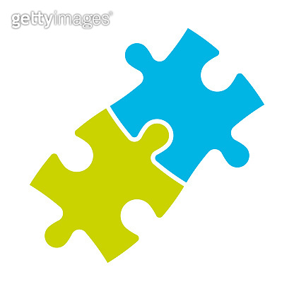 Jigsaw puzzle of two pieces. Team cooperation, teamwork or solution business theme. Simple flat vector illustration