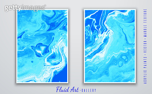 Fluid art. Abstract vector background. Marble and sea wave texture. Blue shades. Liquid acrylic paints. Fashionable modern design. Template for posters, invitations, book covers, presentations.