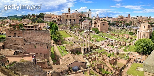 Roman Forum, Latin Forum Romanum, and Capitoline Hill. The most important cenre in ancient Rome, Italy. Panoramic shot