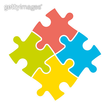4 colorful jigsaw puzzle pieces. Team cooperation, teamwork or solution business theme. Simple flat vector illustration