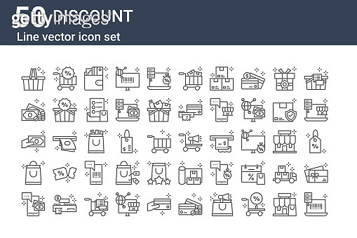 set of 50 discount icons. outline thin line icons such as barcode scan, mobile payment, shopping bag, money, money, shopping cart