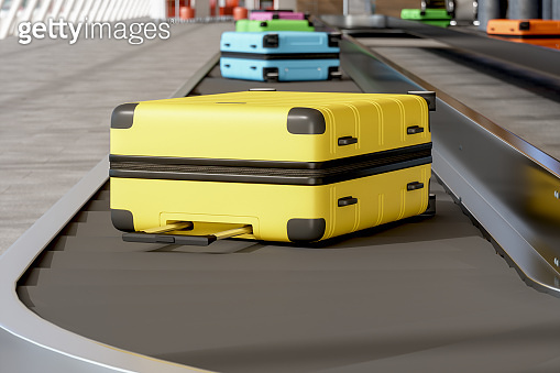 Luggages Moving On Airport Conveyor Belt