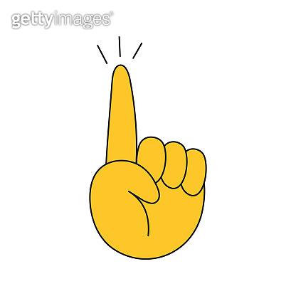 Hand drawn raising and lifting index finger up