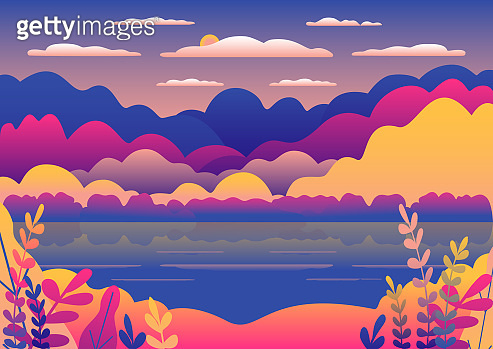 Hills and mountains landscape in flat style design. Valley with blue lake illustration. Beautiful yellow fields, meadow and sky. Rural location in the forest, trees, flowers. Cartoon vector background