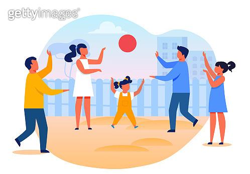 Little Kids Playing Ball Flat Vector Illustration