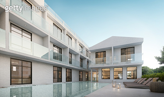 Luxury modern white hotel with swimming pool.Sunbed on sundeck for vacation home or hotel.3d rendering