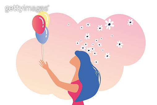 Young Happy Woman Holding Bunch of Balloons Movie