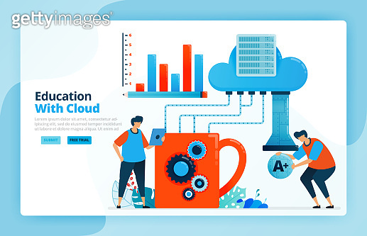 Vector illustration of activities from learning using cloud computing system. Technology 4.0 in education. System database backups and achievement charts. Designed for landing pages, web, mobile apps