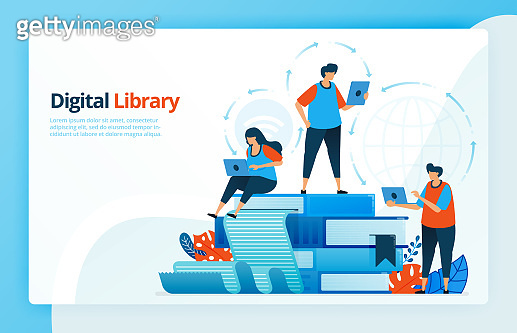 Vector illustration of activities from distance learning and digital libraries. Education 4.0, students learn from home. E-learning and e-library. Designed for landing pages, web, mobile apps, poster