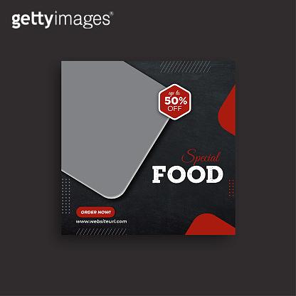 Food restaurant social media post web banner template