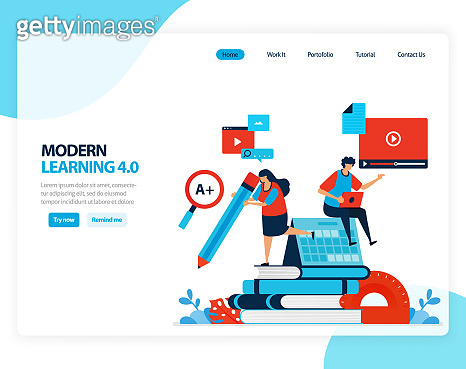 Vector illustration of modern learning 4.0 . efficiency of digital education, learning, schooling. Flat cartoon for landing page, template, ui ux, web, website, mobile app, banner, flyer, brochure