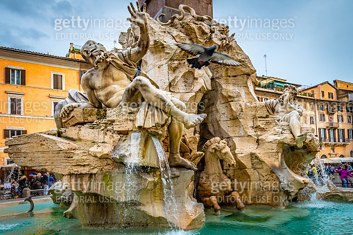 Rome, Italy. Fountain of Four Rivers (Fontana dei Quattro Fiumi) in Piazza Navona.