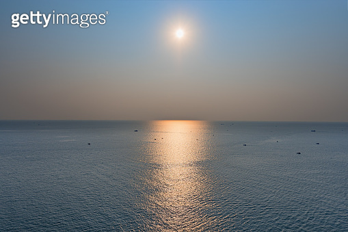 The Scenic sunset over the sea bay. view from above