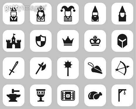 Medieval Time & Culture Icons Black & White Flat Design Set Big