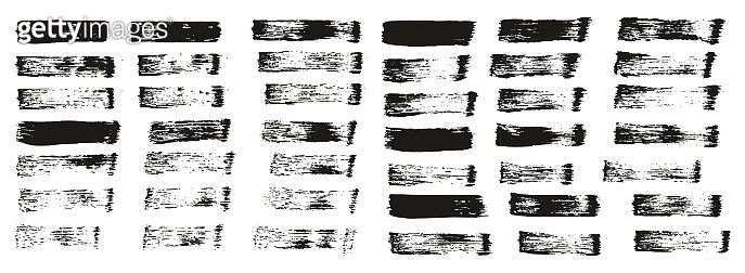 Flat Paint Brush Thin Straight Lines High Detail Abstract Vector Background Set