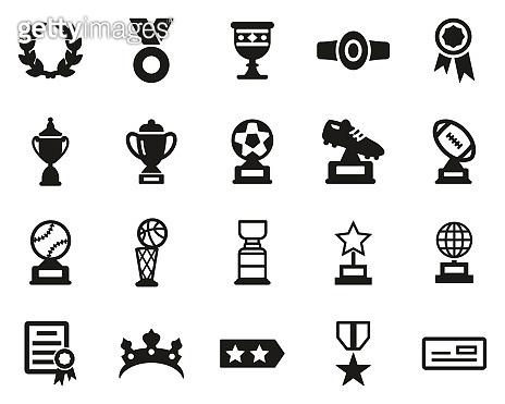Prize Or Trophy Icons Black & White Set Big