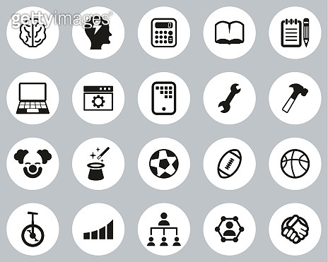 Skill & Talent Icons Black & White Flat Design Circle Set Big