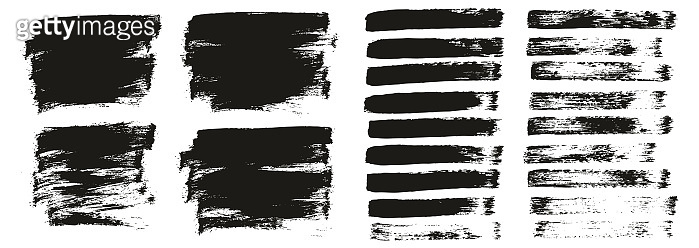 Flat Paint Brush Thin Short Background & Straight Lines Mix High Detail Abstract Vector Background Mix Set