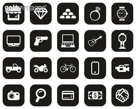 Pawn Shop Or Thrift Store Icons White On Black Flat Design Set Big