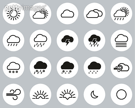 Weather Icons Black & White Flat Design Circle Set Big