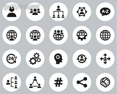 Organization & Structure Icons Black & White Flat Design Circle Set Big
