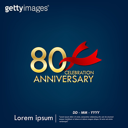80 Anniversary celebration emblem. anniversary elegance golden with red ribbon on dark blue background, vector illustration template design for web, greeting card and invitation card