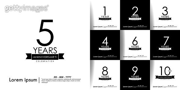 Set of 1-10 Years anniversary celebration with ribbon on black & white background. vector illustration template design for web, flyers, leaflet, poster, invitation card or greeting card