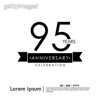 95 Yeas anniversary celebration isolated with ribbon on black and white background. vector illustration template design for for web, flyers, leaflet, brochure, poster, invitation card or greeting card