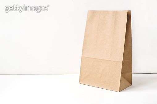 Paper craft bag on a white background.